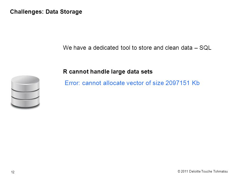 © 2011 Deloitte Touche Tohmatsu 12 Challenges: Data Storage We have a dedicated tool to store and clean data – SQL R cannot handle large data sets Error: cannot allocate vector of size 2097151 Kb