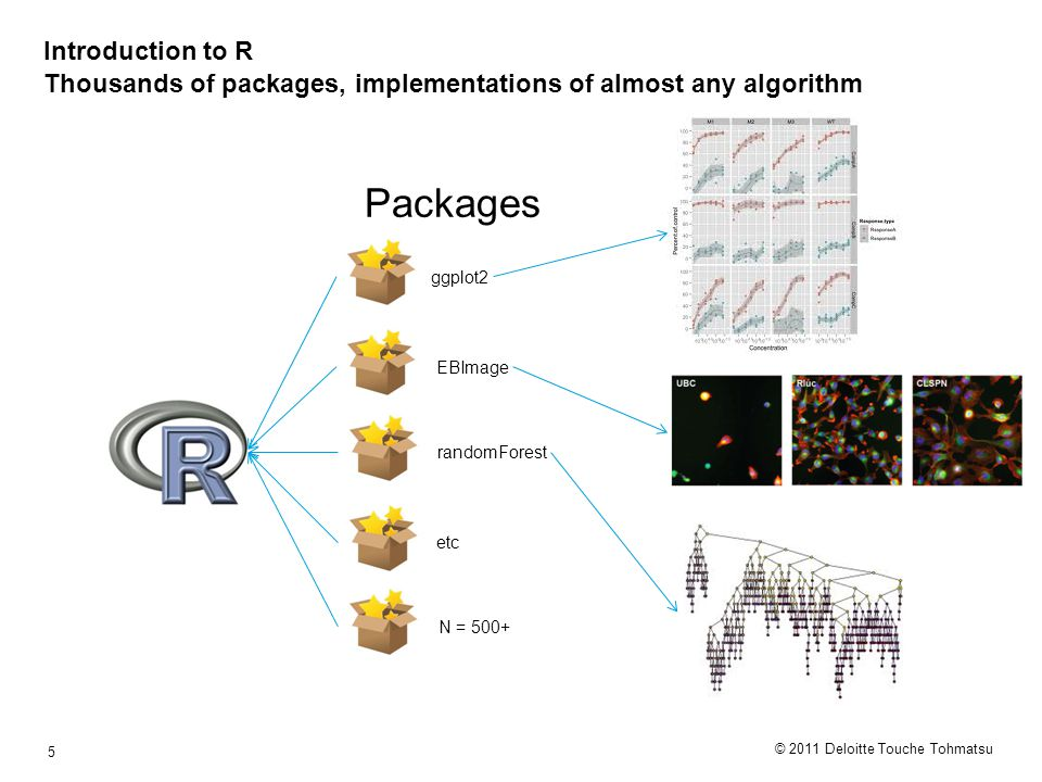 © 2011 Deloitte Touche Tohmatsu 5 Introduction to R Thousands of packages, implementations of almost any algorithm ggplot2 EBImage randomForest etc N