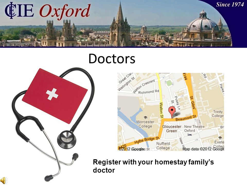 Doctors Register with your homestay family's doctor