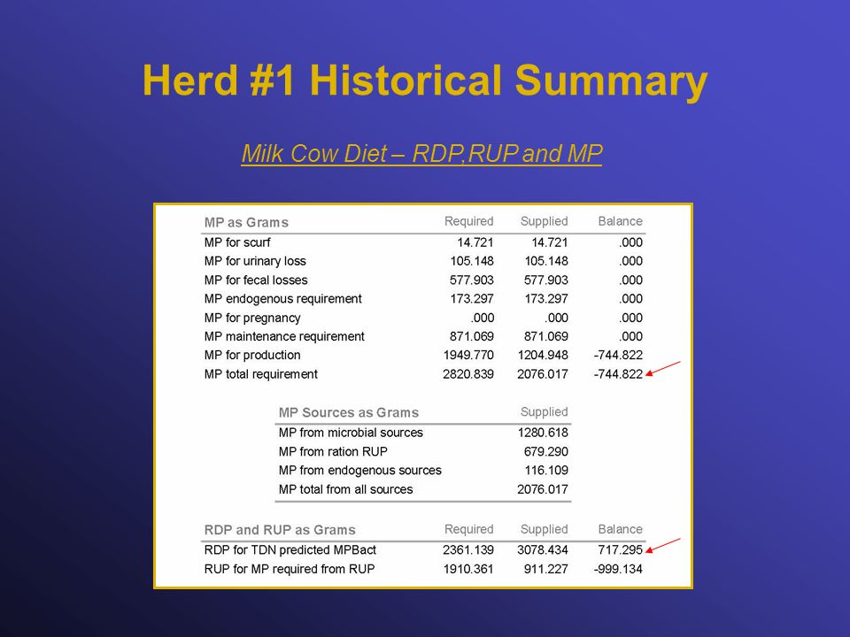 Herd #1 Historical Summary Milk Cow Diet – RDP,RUP and MP