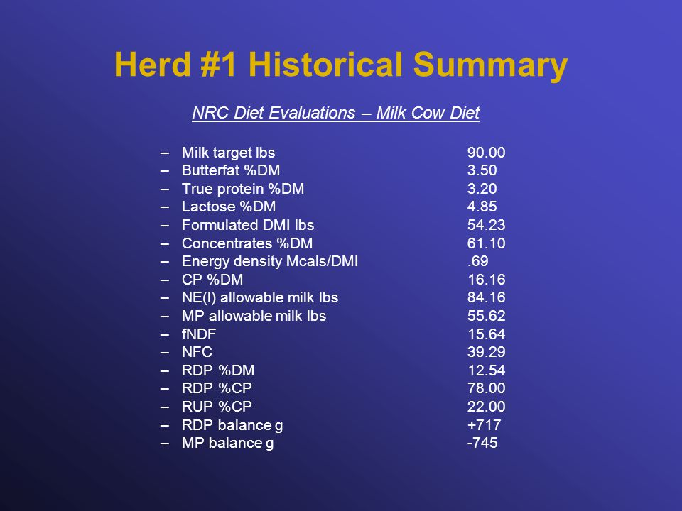 Herd #1 Historical Summary NRC Diet Evaluations – Milk Cow Diet –Milk target lbs90.00 –Butterfat %DM3.50 –True protein %DM3.20 –Lactose %DM4.85 –Formulated DMI lbs54.23 –Concentrates %DM61.10 –Energy density Mcals/DMI.69 –CP %DM16.16 –NE(l) allowable milk lbs84.16 –MP allowable milk lbs55.62 –fNDF15.64 –NFC39.29 –RDP %DM12.54 –RDP %CP78.00 –RUP %CP22.00 –RDP balance g +717 –MP balance g-745