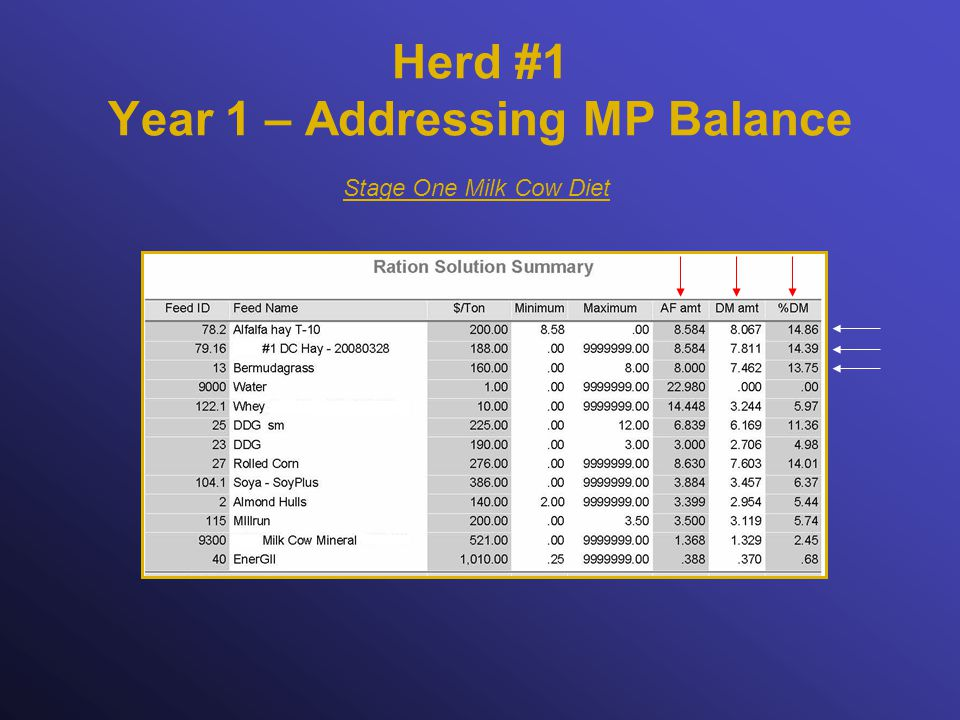 Herd #1 Year 1 – Addressing MP Balance Stage One Milk Cow Diet