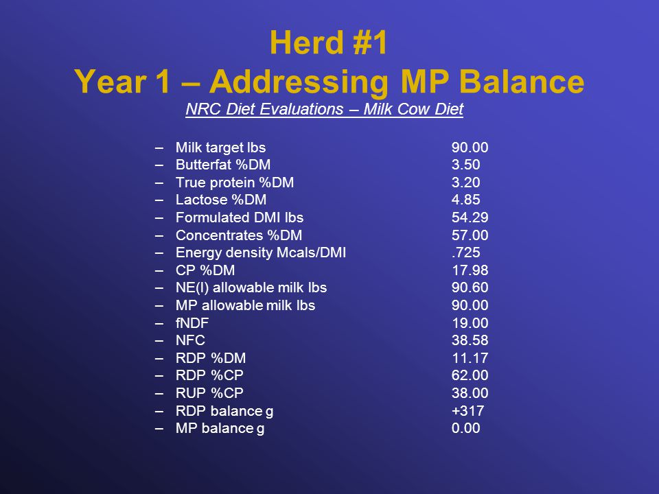 Herd #1 Year 1 – Addressing MP Balance NRC Diet Evaluations – Milk Cow Diet –Milk target lbs90.00 –Butterfat %DM3.50 –True protein %DM3.20 –Lactose %DM4.85 –Formulated DMI lbs54.29 –Concentrates %DM57.00 –Energy density Mcals/DMI.725 –CP %DM17.98 –NE(l) allowable milk lbs90.60 –MP allowable milk lbs90.00 –fNDF19.00 –NFC38.58 –RDP %DM11.17 –RDP %CP62.00 –RUP %CP38.00 –RDP balance g +317 –MP balance g0.00