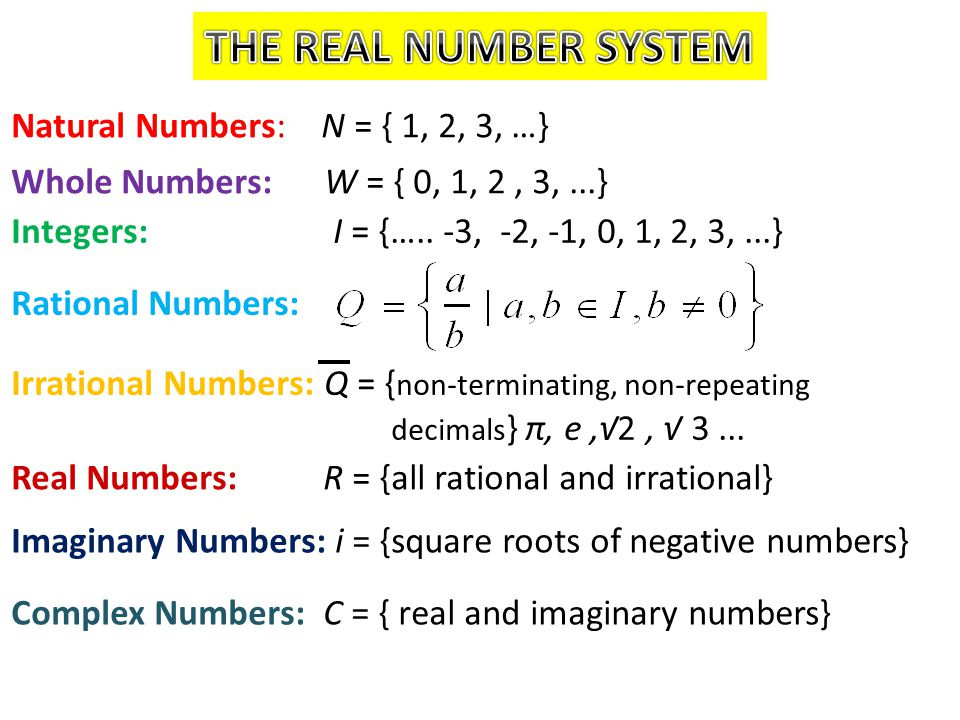 Natural Numbers: N = { 1, 2, 3, …} Whole Numbers: W = { 0, 1, 2, 3,...} Integers: I = {….. -3, -2, -1, 0, 1, 2, 3,...} Rational Numbers: Irrational Nu