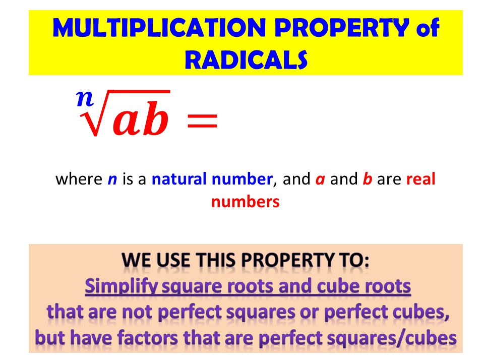 MULTIPLICATION PROPERTY of RADICALS where n is a natural number, and a and b are real numbers