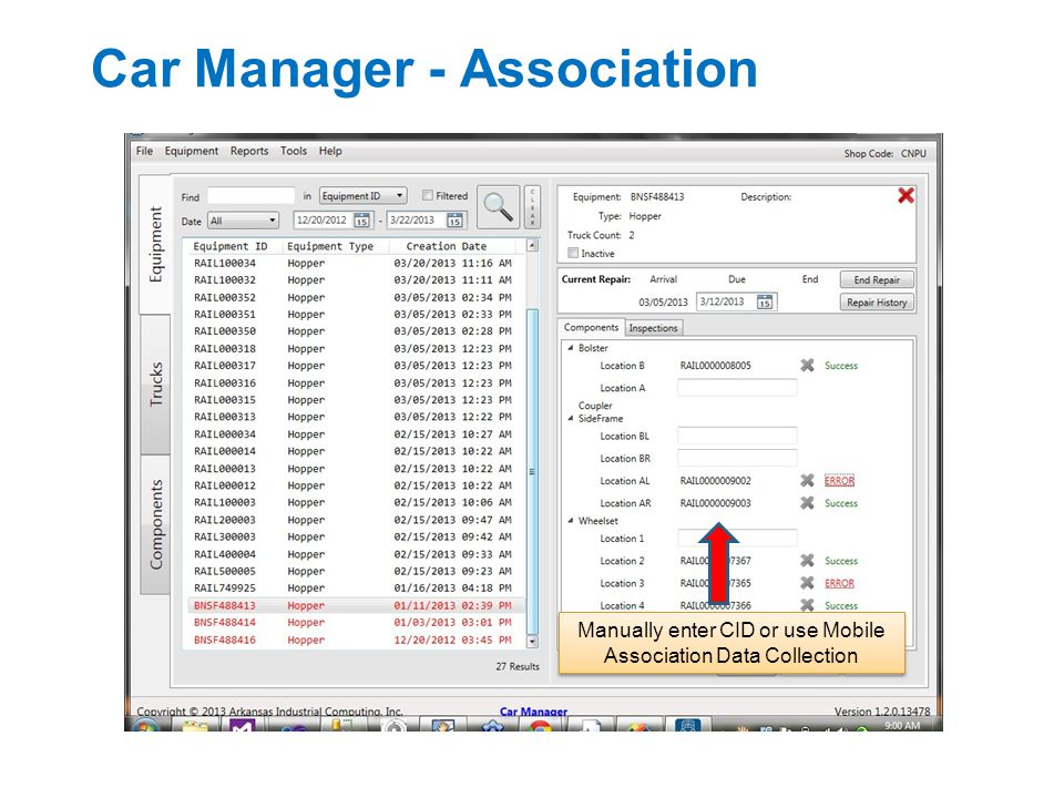 Car Manager - Association Manually enter CID or use Mobile Association Data Collection