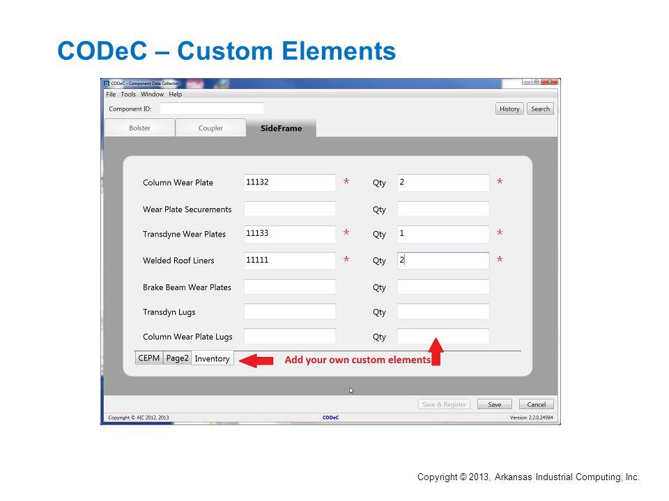 CODeC – Custom Elements Copyright © 2013, Arkansas Industrial Computing, Inc.