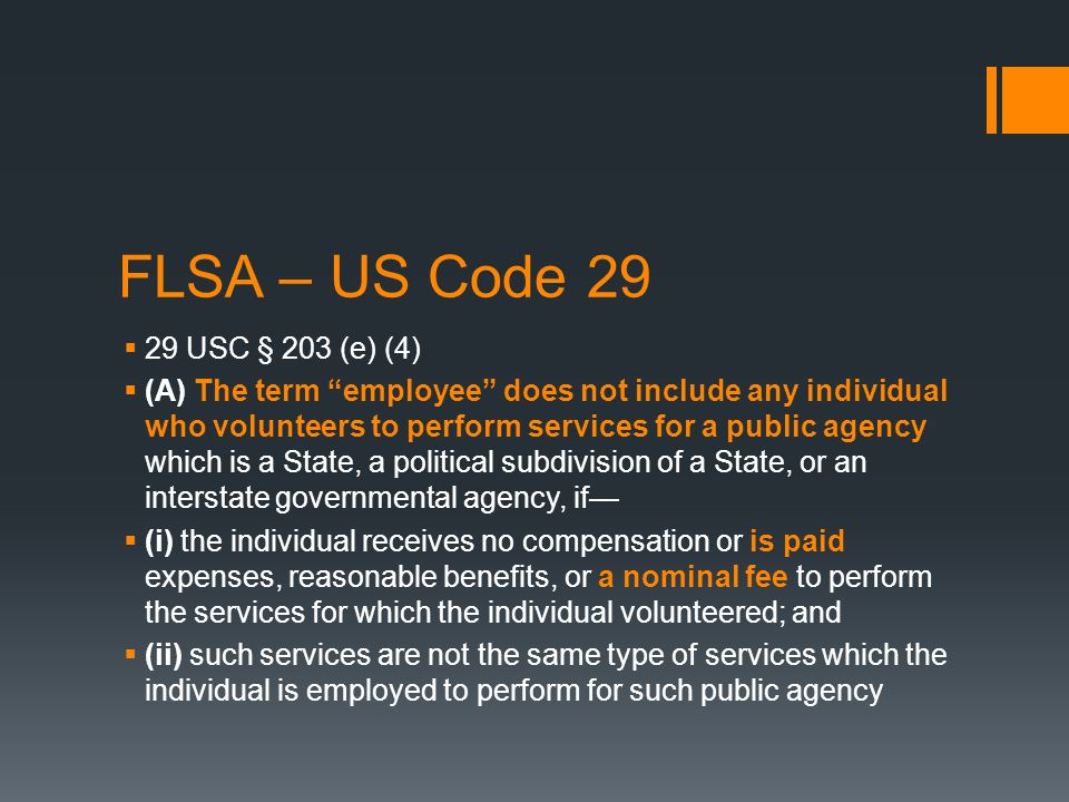 FLSA - Summary  Key questions are:  Is the assignment voluntary.