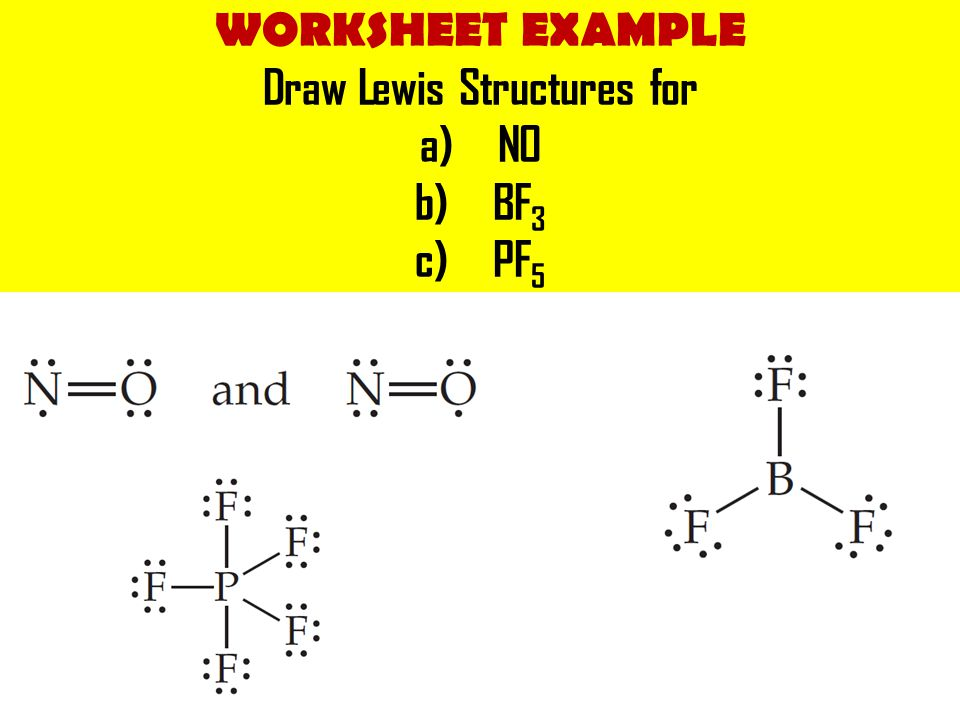 WORKSHEET EXAMPLE Draw Lewis Structures for a)NO b)BF 3 c)PF 5
