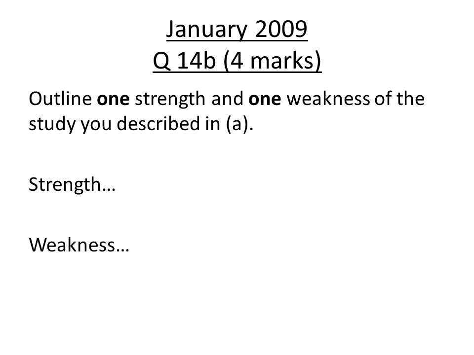 May 2011 Question 15a (2 mark) Mrs Smith is to take over Mrs Jones's Psychology class in January, as Mrs Jones is going on maternity leave.