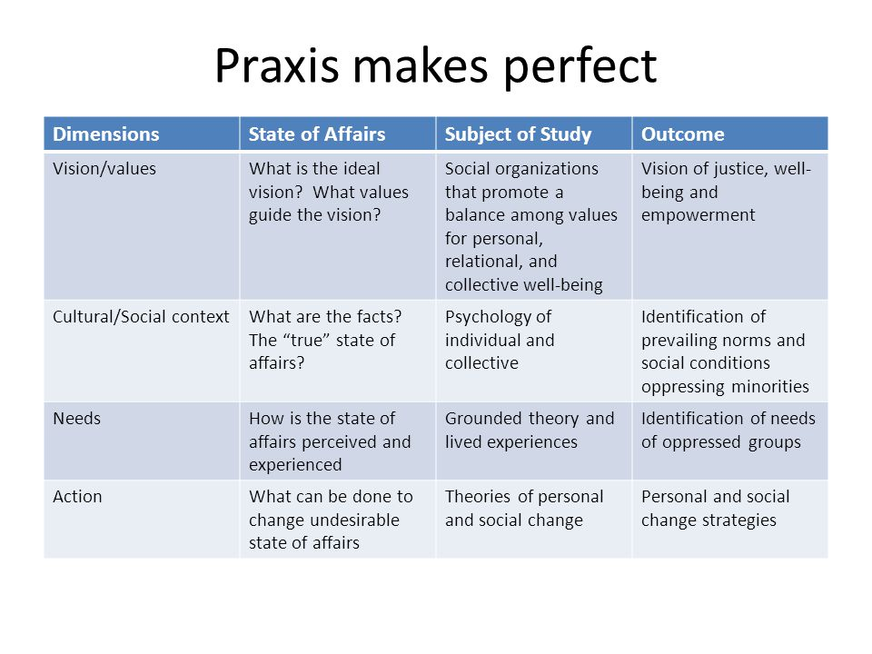 Praxis makes perfect DimensionsState of AffairsSubject of StudyOutcome Vision/valuesWhat is the ideal vision? What values guide the vision? Social org