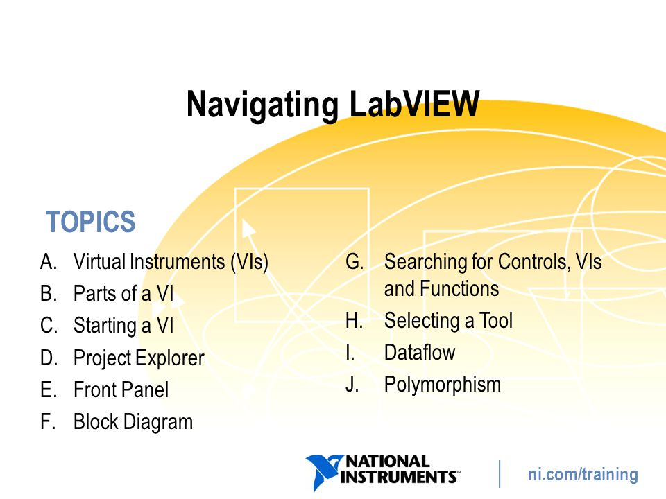 TOPICS ni.com/training Navigating LabVIEW A.Virtual Instruments (VIs) B.Parts of a VI C.Starting a VI D.Project Explorer E.Front Panel F.Block Diagram