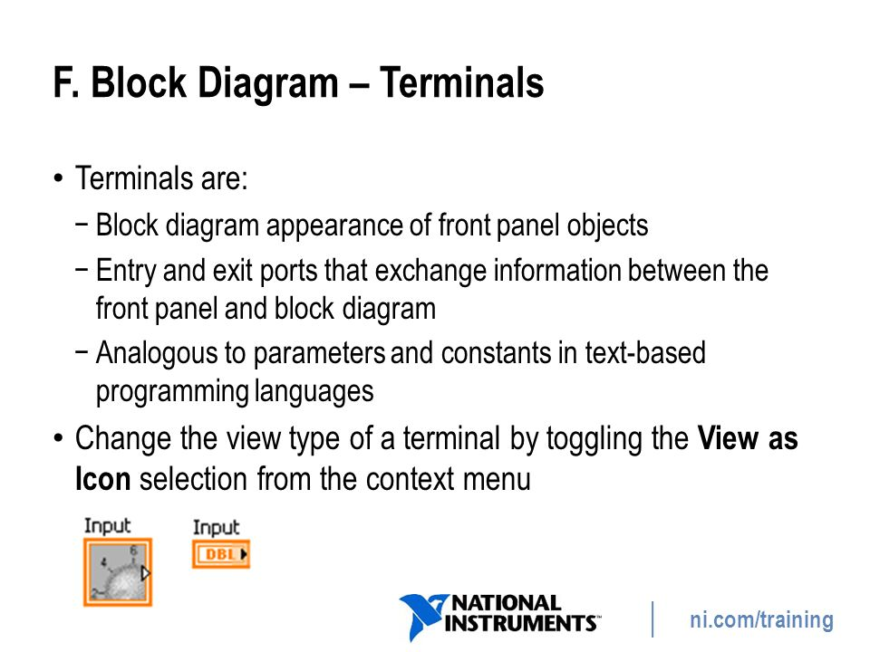 ni.com/training F. Block Diagram – Terminals Terminals are: −Block diagram appearance of front panel objects −Entry and exit ports that exchange infor