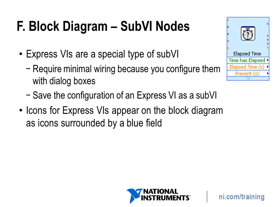 ni.com/training F. Block Diagram – SubVI Nodes Express VIs are a special type of subVI −Require minimal wiring because you configure them with dialog