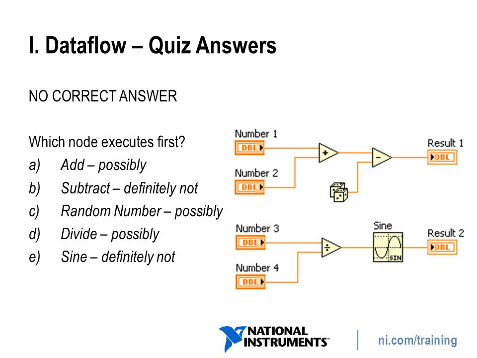 ni.com/training I. Dataflow – Quiz Answers NO CORRECT ANSWER Which node executes first? a)Add – possibly b)Subtract – definitely not c)Random Number –
