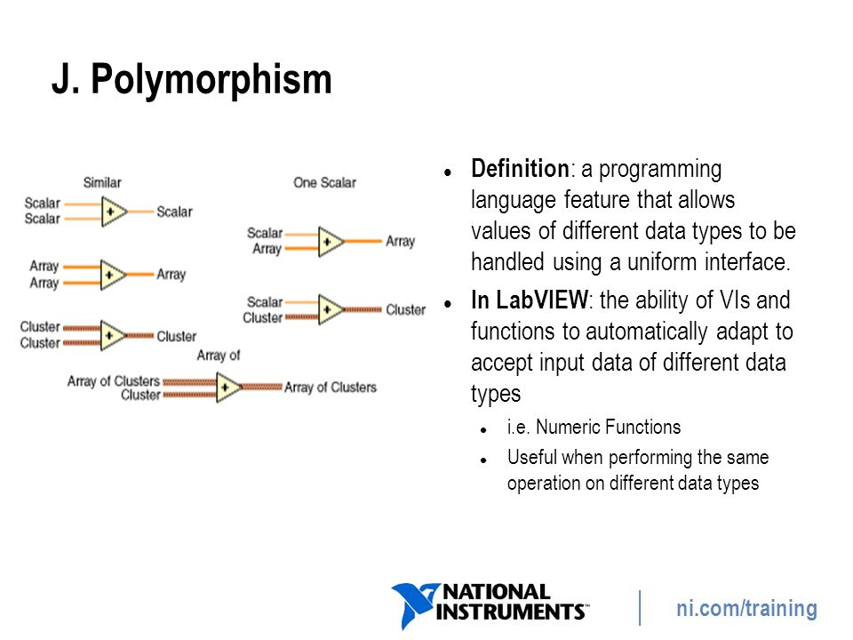 ni.com/training J. Polymorphism Definition : a programming language feature that allows values of different data types to be handled using a uniform i