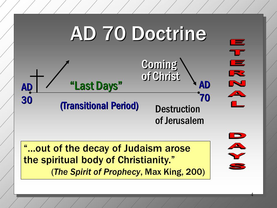 15 The Coming of the Lord ( Day of the Lord ) AD 70 arbitrarily assigns only one possible application to the coming of the Lord regardless of its contextual usage Cf.