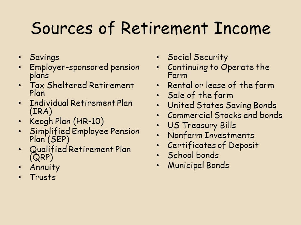 Sources of Retirement Income Savings Employer-sponsored pension plans Tax Sheltered Retirement Plan Individual Retirement Plan (IRA) Keogh Plan (HR-10) Simplified Employee Pension Plan (SEP) Qualified Retirement Plan (QRP) Annuity Trusts Social Security Continuing to Operate the Farm Rental or lease of the farm Sale of the farm United States Saving Bonds Commercial Stocks and bonds US Treasury Bills Nonfarm Investments Certificates of Deposit School bonds Municipal Bonds