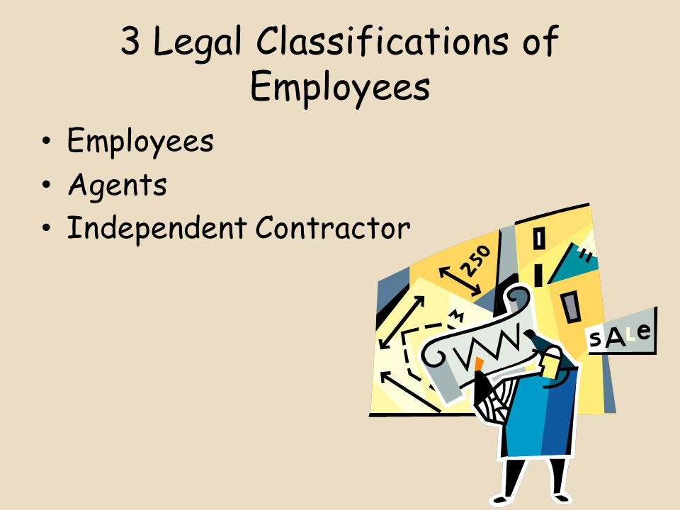 3 Legal Classifications of Employees Employees Agents Independent Contractor