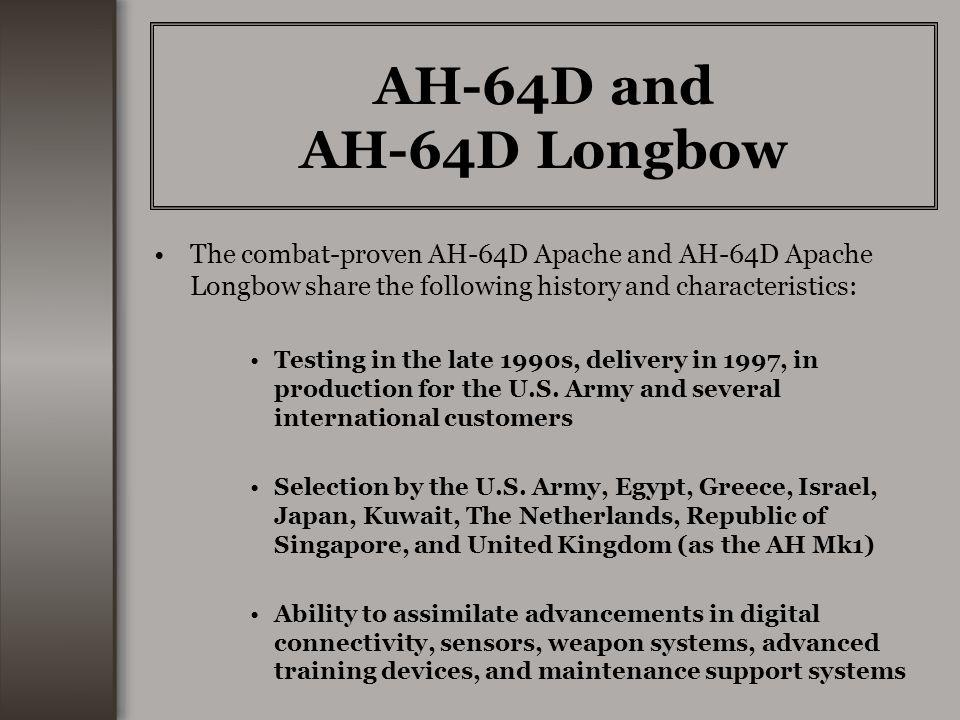 AH-64D and AH-64D Longbow The combat-proven AH-64D Apache and AH-64D Apache Longbow share the following history and characteristics: Testing in the la