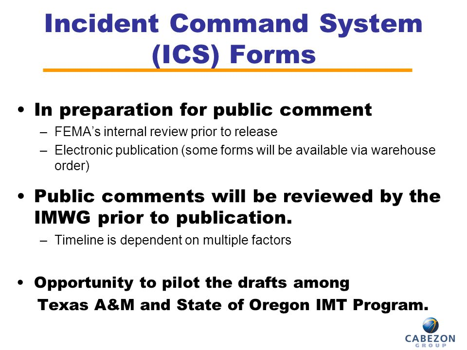 Incident Command System (ICS) Forms In preparation for public comment –FEMA's internal review prior to release –Electronic publication (some forms wil