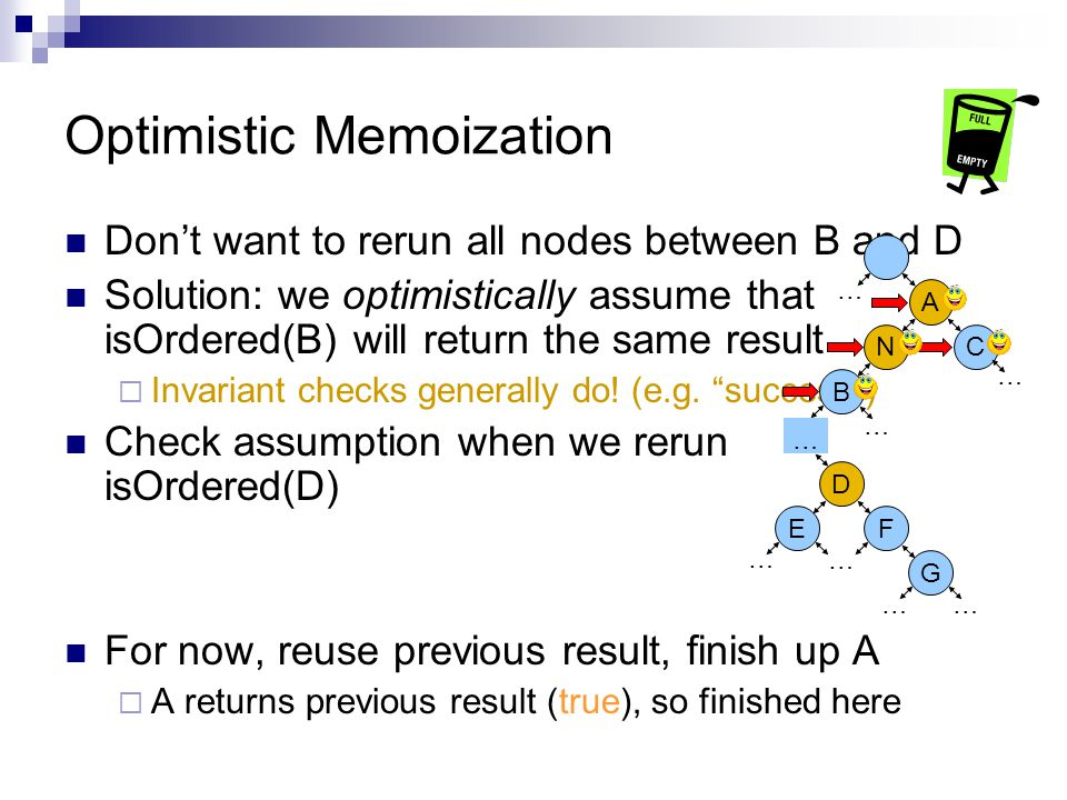 Optimistic Memoization Don't want to rerun all nodes between B and D Solution: we optimistically assume that isOrdered(B) will return the same result  Invariant checks generally do.