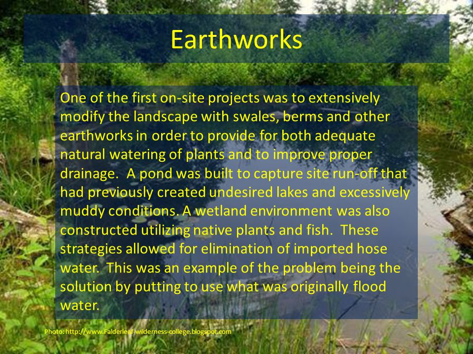 Earthworks One of the first on-site projects was to extensively modify the landscape with swales, berms and other earthworks in order to provide for both adequate natural watering of plants and to improve proper drainage.