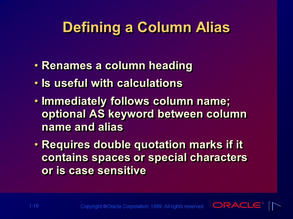 1-16 Copyright  Oracle Corporation, 1999. All rights reserved. Defining a Column Alias Renames a column heading Is useful with calculations Immediate