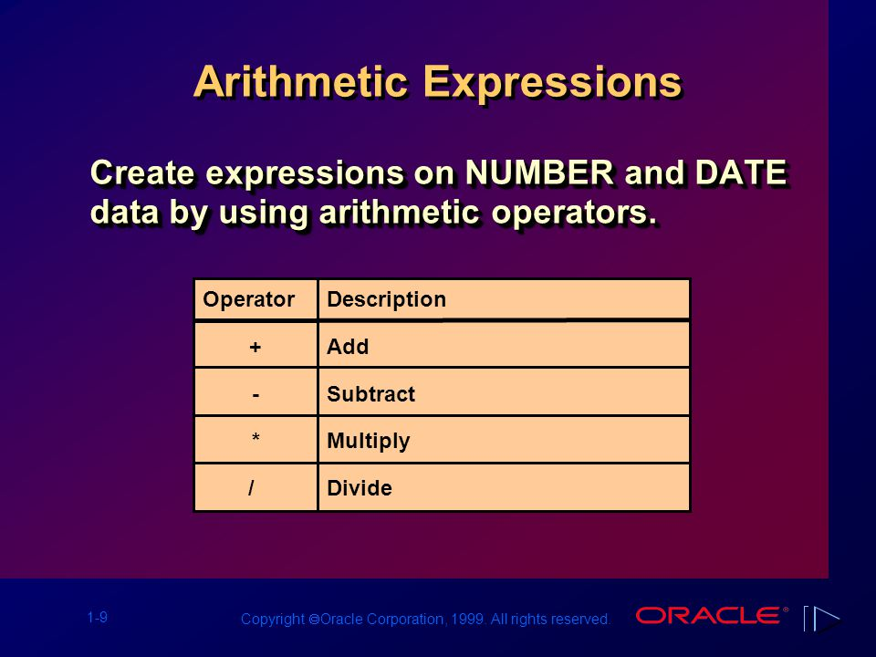 1-9 Copyright  Oracle Corporation, 1999. All rights reserved. Arithmetic Expressions Create expressions on NUMBER and DATE data by using arithmetic o