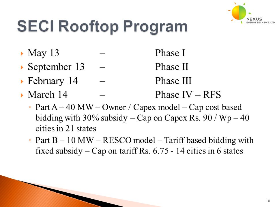  May 13 – Phase I  September 13 – Phase II  February 14 – Phase III  March 14 – Phase IV – RFS ◦ Part A – 40 MW – Owner / Capex model – Cap cost b