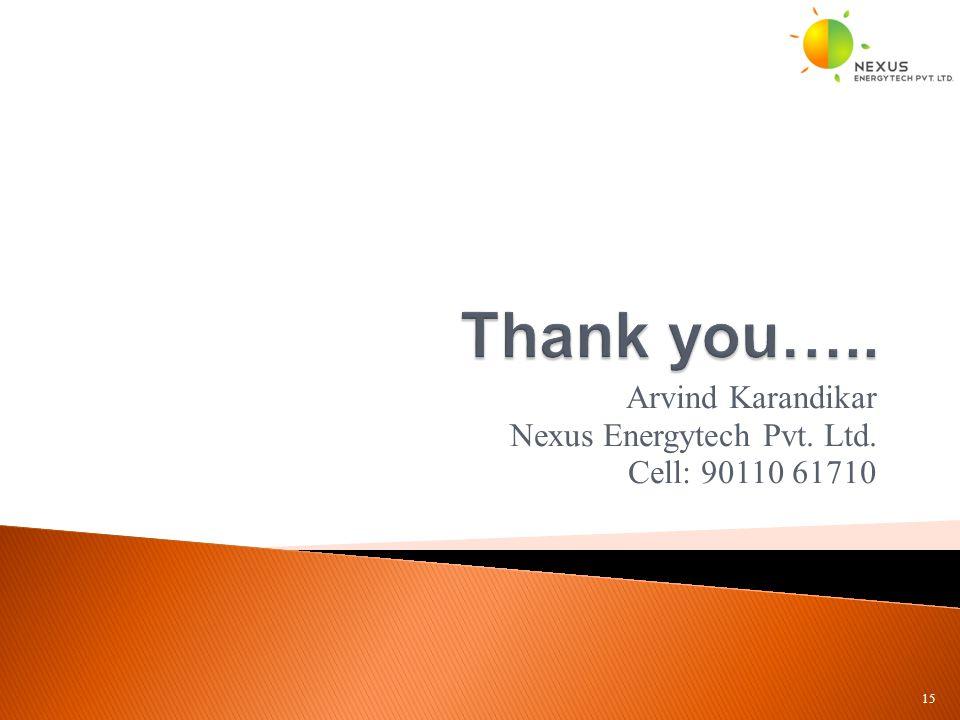 Arvind Karandikar Nexus Energytech Pvt. Ltd. Cell: 90110 61710 15