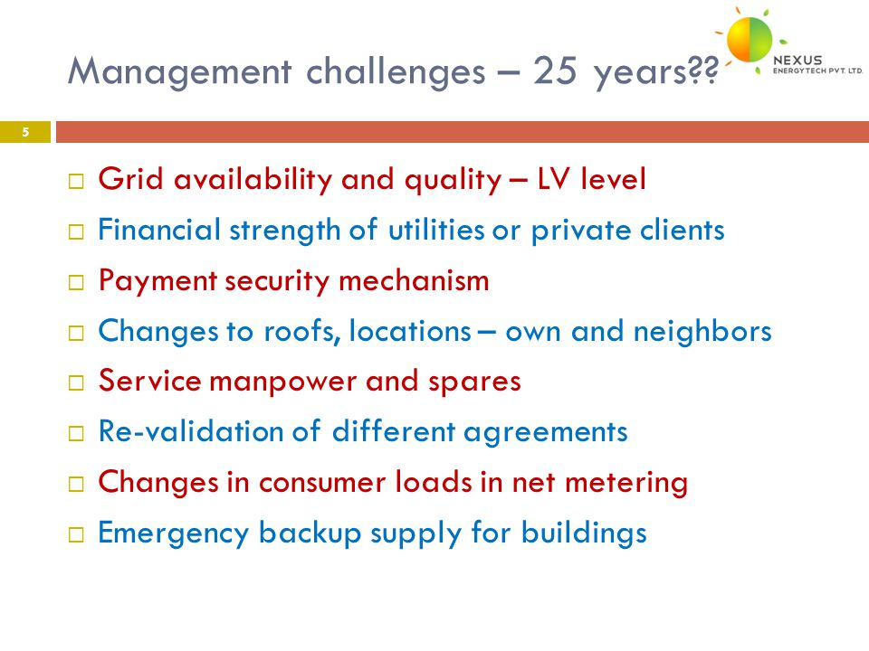 Management challenges – 25 years?.