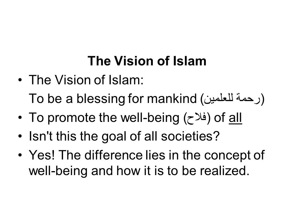 The Vision of Islam The Vision of Islam: To be a blessing for mankind (رحمة للعلمين) To promote the well-being (فلاح) of all Isn t this the goal of all societies.