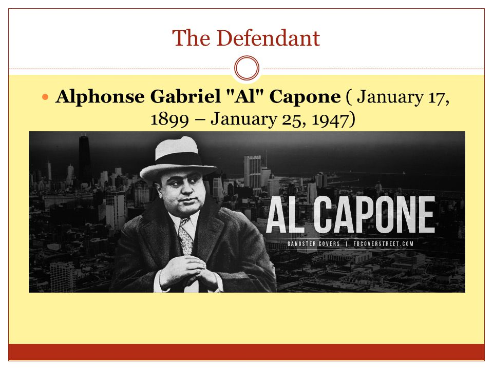The chronology of the case March 11, 1929 Capone's lawyers file a petition to postpone his appearance on March 12 th, and attach an affidavit from Capone's physician, Dr.