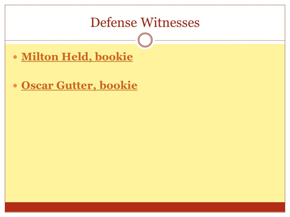 Defense Witnesses: Milton Held, bookie Oscar Gutter, bookie Milton Held, bookie Oscar Gutter, bookie Direct examination by Mr.