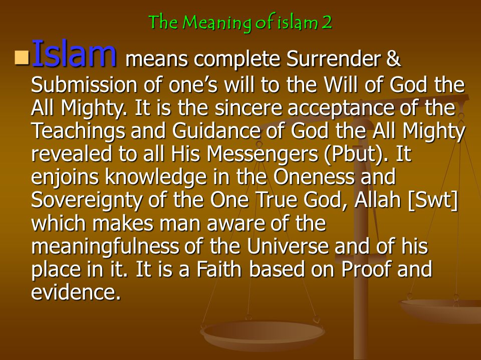 What the word ISLAM means in English.