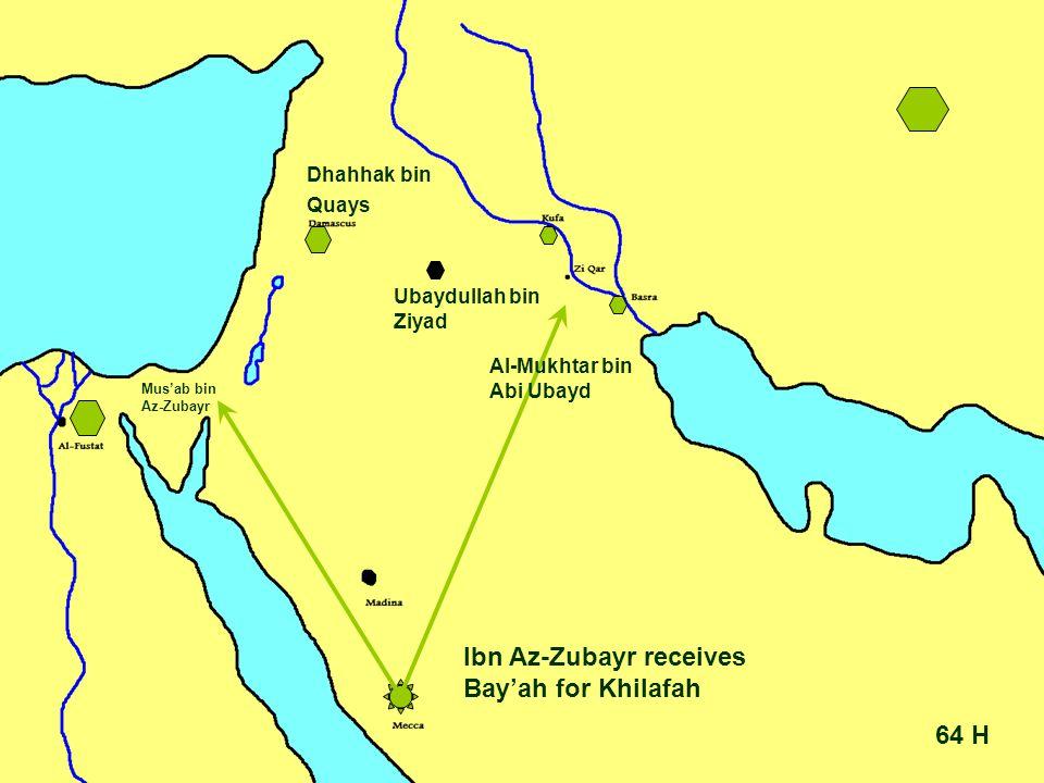 64 H Ibn Az-Zubayr receives Bay'ah for Khilafah Ubaydullah bin Ziyad Dhahhak bin Quays Mus'ab bin Az-Zubayr Al-Mukhtar bin Abi Ubayd