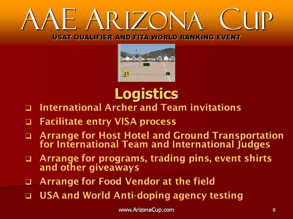 www.ArizonaCup.com9   Training available prior to the Event   FITA Technical Delegate inspection   Day 1 - Official Practice, Equipment Inspection and Judge / Team Meetings   Day 2 and 3 – Qualification / Ranking Rounds   Day 3 – Open Team Match Play Elimination   Day 4 – Open Individual Match Play Elimination   Day 5 – National Team Match Play Elimination AAE A rizona C up USAT QUALIFIER AND FITA WORLD RANKING EVENT Schedule