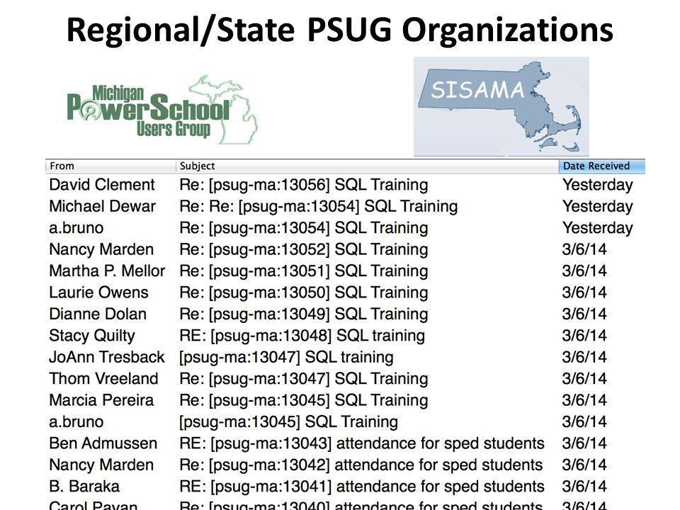 Regional/State PSUG Organizations