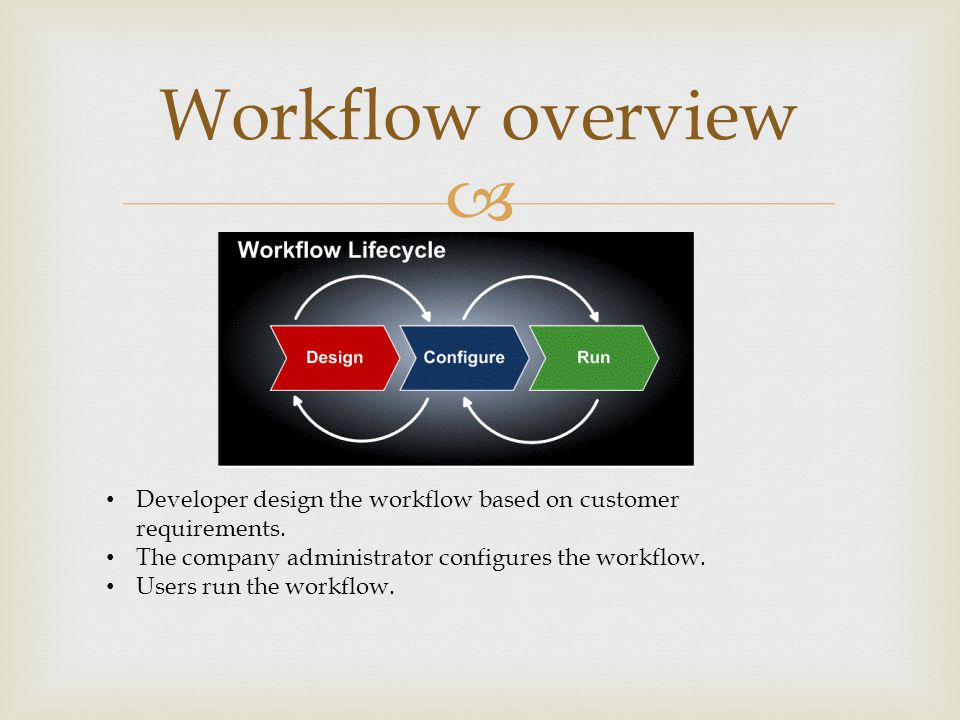  Developer design the workflow based on customer requirements.