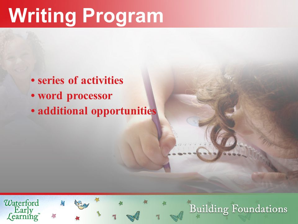 Writing Program series of activities word processor additional opportunities