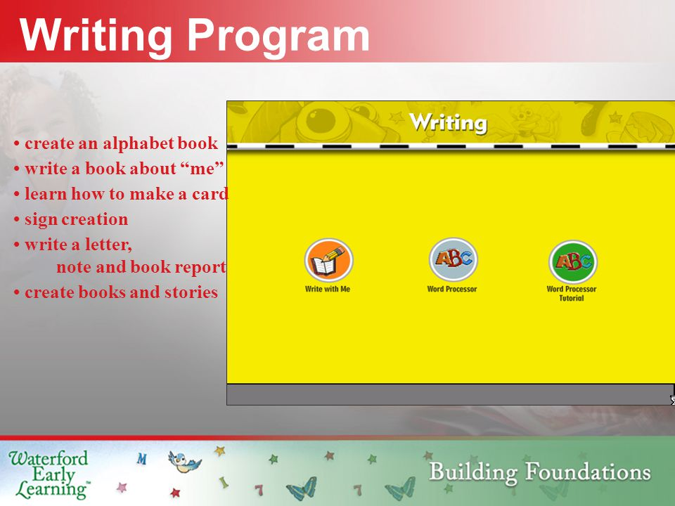 Writing Program create an alphabet book write a book about me learn how to make a card sign creation write a letter, note and book report create books and stories