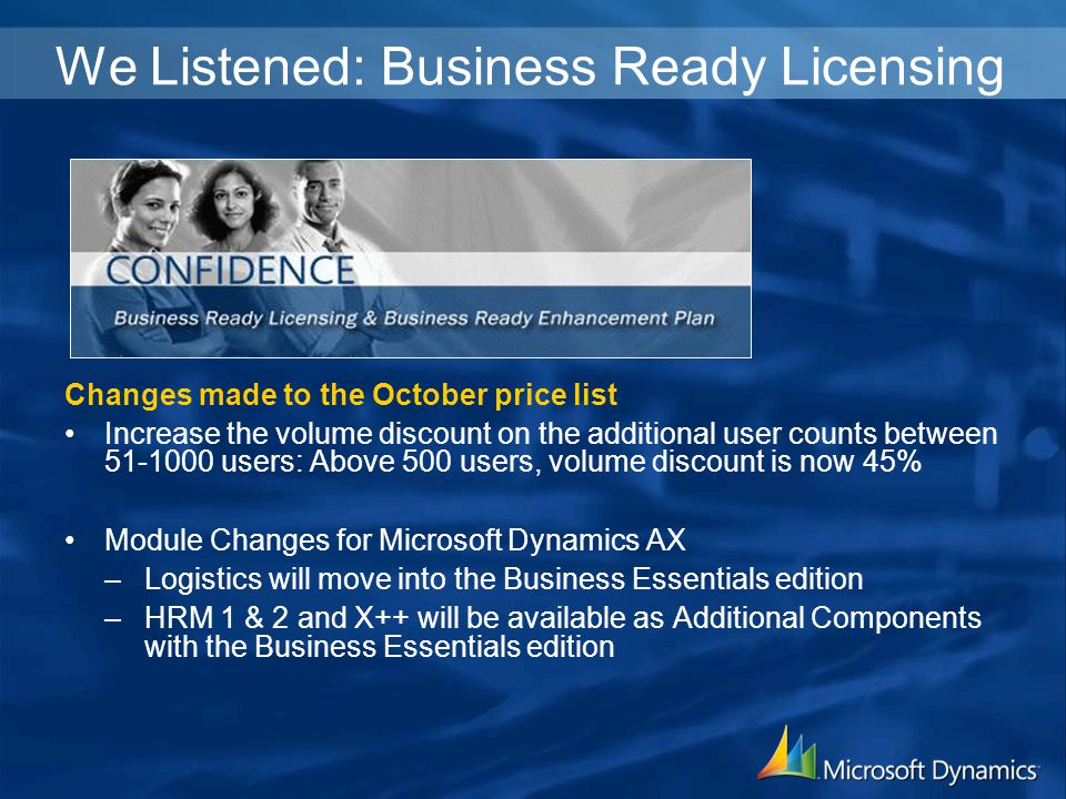 We Listened: Business Ready Licensing Changes made to the October price list Increase the volume discount on the additional user counts between 51-1000 users: Above 500 users, volume discount is now 45% Module Changes for Microsoft Dynamics AX –Logistics will move into the Business Essentials edition –HRM 1 & 2 and X++ will be available as Additional Components with the Business Essentials edition