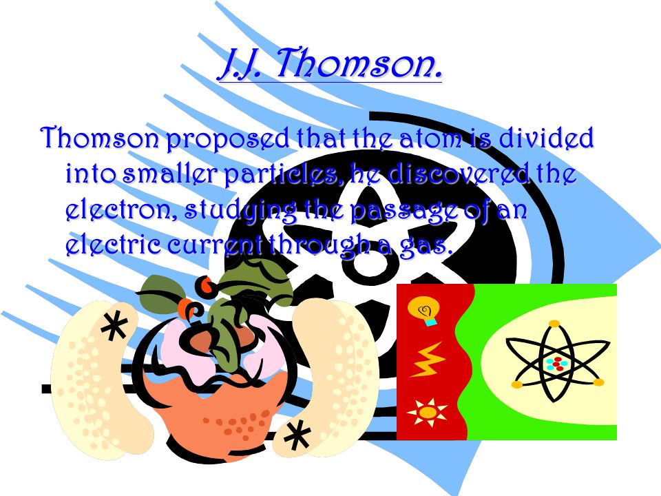 He proposed a model called plum pudding according to Thomson s atomic model, the atom was made of a puddinglike positively charged material throughout which negatively charged electrons were scattered, like plums in a pudding.