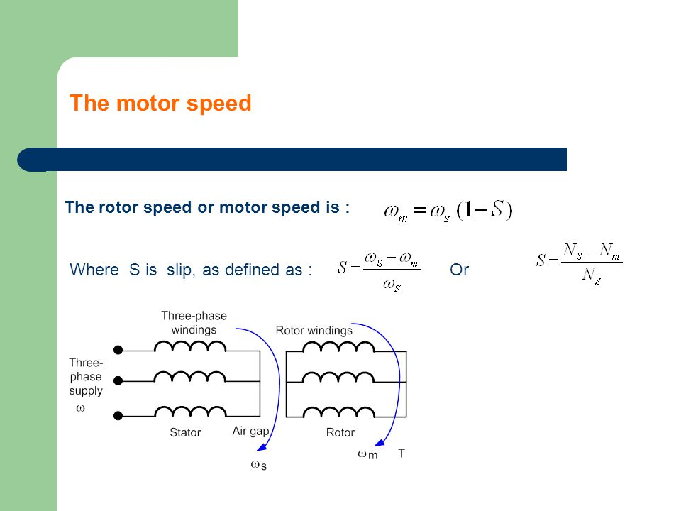 The rotor speed or motor speed is : Where S is slip, as defined as :Or The motor speed