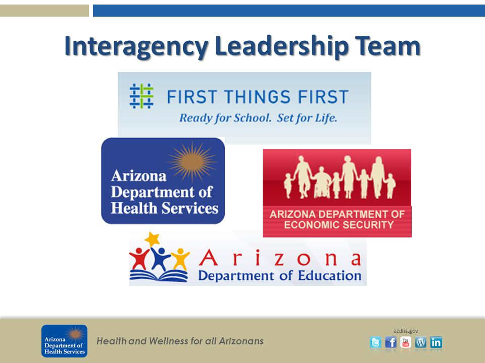 Health and Wellness for all Arizonans azdhs.gov Interagency Leadership Team