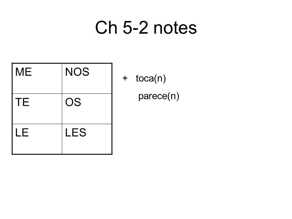 Ch 5-2 notes MENOS TEOS LELES + toca(n) parece(n)