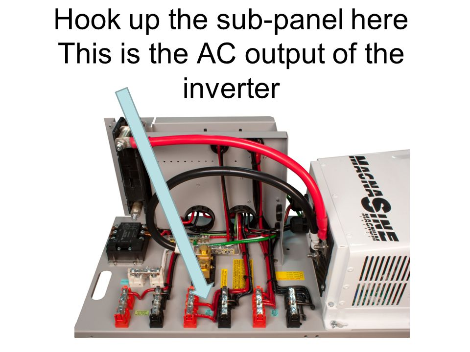 Hook up the sub-panel here This is the AC output of the inverter