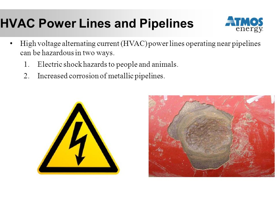 HVAC Power Lines and Pipelines High voltage alternating current (HVAC) power lines operating near pipelines can be hazardous in two ways. 1.Electric s