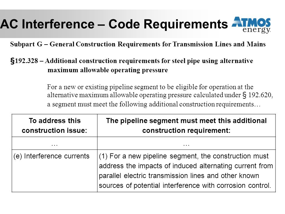 AC Interference – Code Requirements Subpart G – General Construction Requirements for Transmission Lines and Mains §192.328 – Additional construction